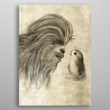 Star Wars Metall-Poster Last Jedi Sketches Chewie & Porg 10 x 14 cm