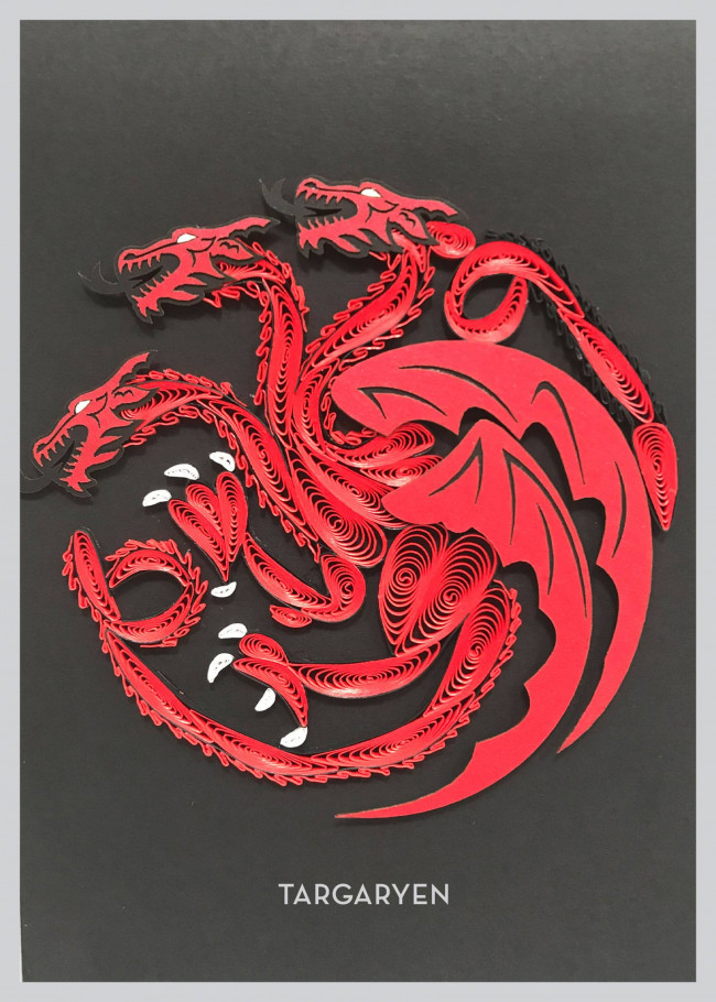 Game Of Thrones Qulilling Grußkarte House Lannister Aufsteller & Figuren