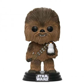 Star Wars VIII Chewbacca & Porg POP! Flocked Figur 9 cm