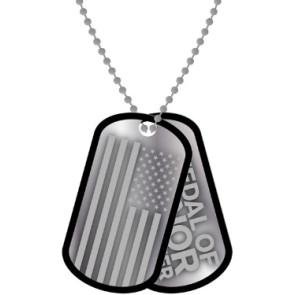 Medal Of Honor Warfighter Erkennungsmarken mit Kette Stamped Pair