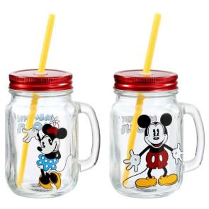 Disney Micky Maus & Minnie Maus Mason Jar Glas Doppelpack