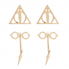 Harry Potter Edelstahl-Ohrringe 2er-Pack Deathly Hallows & Scar and Glasses