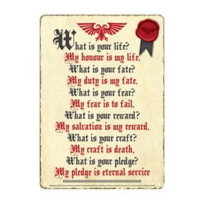 Warhammer Blechschild Pledge 21 x 15 cm