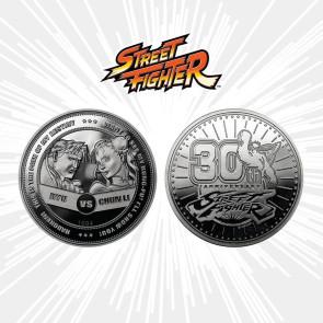 Street Fighter Sammelmünze 30th Anniversary Ryu vs Chun-Li (versilbert)