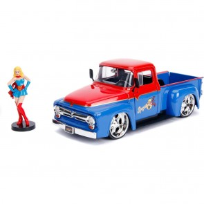 DC Bombshells Diecast Modell Hollywood Rides 1/24 1956 Ford F100 with Super Girl Figur