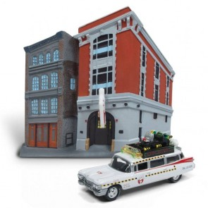 Ghostbusters 1959 Cadillac Ecto-1 & Firehouse Diorama Set 1/64 Diecast Modell
