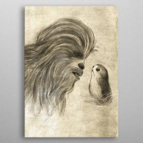 Star Wars Metall-Poster Last Jedi Sketches Chewie & Porg 32 x 45 cm
