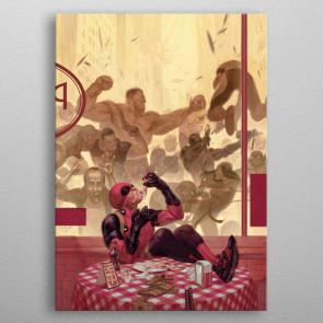 Marvel Metall-Poster Deadpool Gritty Pizza Break 10 x 14 cm