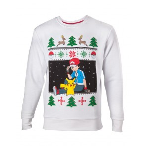 Pokemon Pullover Ash & Pikachu Christmas Größe M