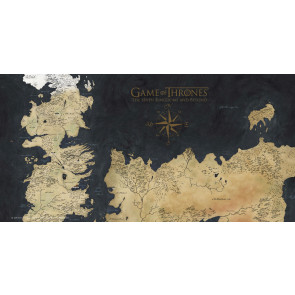Game Of Thrones Glas-Poster Westeros Map 50 x 25 cm