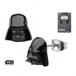 Star Wars Edelstahl-Ohrringe Black PVD Plated 3D Darth Vader